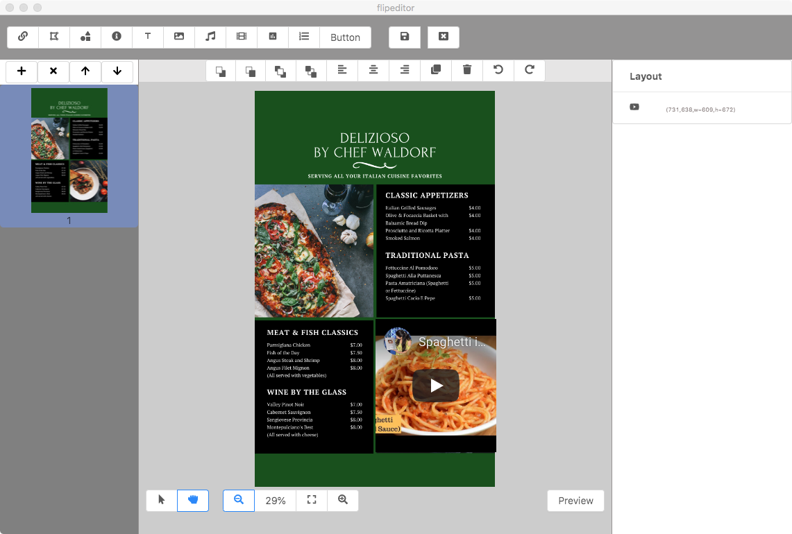 online menu with video maker